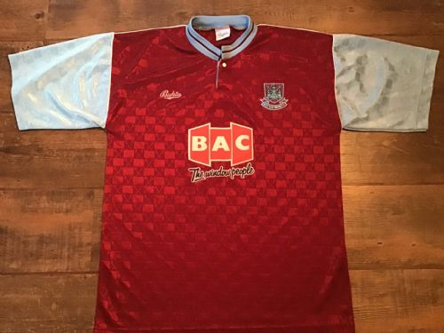 1990 1991  West Ham United  Home Football Shirt Medium